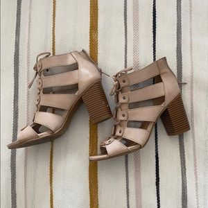 Light Pink Lace-Up Chunky Heels